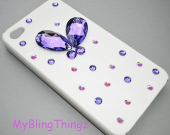 Heliotrope 3D Butterfly Crystal AB Diamond Rhinestone BLING Design on White Back Case for Apple iPhone 4 4S handmade w/ Swarovski Elements