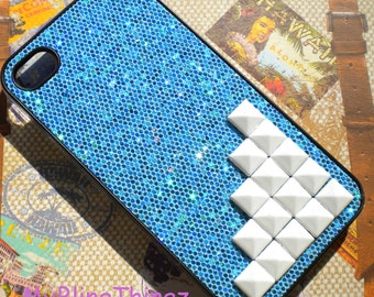 White Pyramid Studs on Pretty Blue Glitter Sparkle Case Cover for Apple iPhone 4 4G 4S AT&T Verizon Sprint