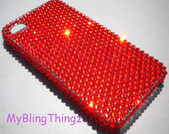 Hyacinth Tangerine Bright Orange Crystal Diamond Rhinestone BLING Back Case for iPhone 4 4G 4S handmade using 100% Swarovski Elements