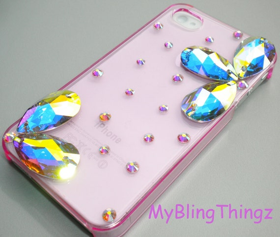 Exquisite Crystal AB Diamond Rhinestone 3D Flower BLING Design on Clear Pink Back Case for Apple iPhone 4 4S handmade w/ Swarovski Elements
