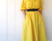 30% Off Sale--Vintage 1970s Yellow Sunshine Shirtdress