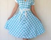 30% off Sale--A Gogo V Handmade Original Aqua Gingham Day Dress