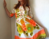 RESERVED for Karen--1960s Dress Yellow Orange And Green Sunflower French Country Spring Wedding