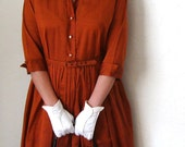 1950s Copper Shirtwaist Dress Fall Autumn Fashion
