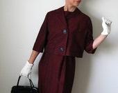 1950s Burgundy Shift Dress And Jacket Mid Century Mad Men Fall Fashion