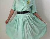 Sale-1950s Summer Dress. Mint Green. Spring Dress. Mad Men Office. Pastel Fashion. Spring Fashion. Summer Cotton Dress
