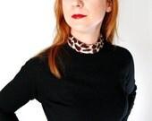 Sale-1960s Black Wool Wiggle Dress Leopard Collar Animal Print Cocktail Mad Men