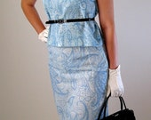 Sale- 1960s Dress. Baby Blue. Paisley Set. Mad Men Fashion. 60s Clothing Size Small. Cocktail Dress. Spring Fashion.  Weddings. Pastel