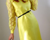 1960s Dress. Yellow. Lace Fashion. Mod Mad Men. Cocktail Dress. Formal Dress. Delicate Dainty. Hipster Valentine. Lace Dress