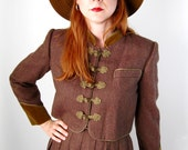 Coffee Brown Wool Tweed Suit Dress Skirt Jacket Designer Autumn Clothing Fall Fashion