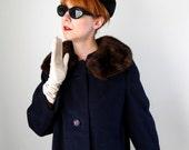 1950s Navy Wool Coat Mink Collar Mad Men Autumn Clothing Fall Fashion Warm Cozy
