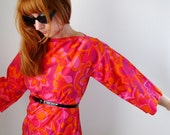 1960s Mod Blouse Psychedelic Hot Pink Orange Mad Men Autumn Clothing Holiday