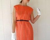 SALE- 1960s Dress. Cocktail Dress. Tangerine. Orange. Coral. Audrey Hepburn. Mad Men Fashion. Spring Fashion. Weddings. Pastel. Size Large