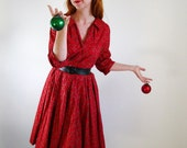 Sale-1950s Red Shirtwaist Dress Paisley Holiday Cocktail  Party Mad Men. Fashion Gifts