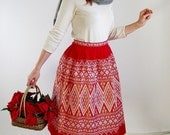 SALE- 1960s Skirt. Red White Tapestry. Nordic . Mad Men Fashion. Office Fashion . Boho. Hipster. Spring Fashion