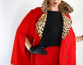 1960s Red Wool Faux Leopard Cape Coat Pin Up Style Office Mad Men Holiday. Fashion Gifts