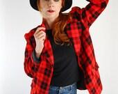 Summer Sale - Vintage 1960s Jacket. Red Black Plaid. Mod. Hipster. Office. Mad Men. Woodland. Summer. Fall.  Size Large