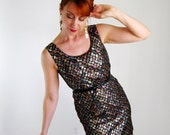 Storewide Sale - 1960s Black Multi-Colored Mod Cocktail Party Dress. Mad Men Fashion. Holiday Party. Sexy Dress. Fall Fashion