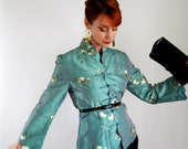 1960s Green Jacket Asian Mad Men cocktail Holiday Wedding Fashion