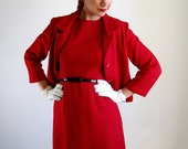 1960s Cocktail Dress.Red Suit. Mad Men Office. Audrey Hepburn. Winter.Valentine.Delicate Dainty