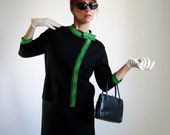 1960s Dress Suit. Black And Bright Green Wool Knit. Mad Men Office. Winter