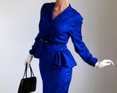 RESERVED for Pamela--80s Does 50s. Iris Purple Silk Suit. Mad Men Fashion. Office Fashion.Peplum. Fall Fashion. Spring Fashion. Size Medium