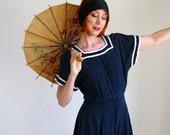 Sale- Navy Blue Romper. Nautical Fashion. Size Large. Beach Fashion. Boho. Spring Fashion. Summer Fashion. Blue Dress