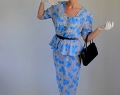 Baby Blue Floral Print Peplum Day Dress. 80s Does 40s. Size Large