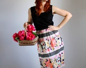 Sale- 1960s Dress. Black Dress. Floral Dress. Pink Blue Black. Boho. Mad Men Fashion. Garden Party Dress. Summer Dress. Size Medium