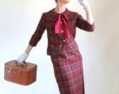Sale - Vintage 1960s Dress Suit. Burgundy Plaid. Mad Men Fashion. Office Fashion. Summer. Fall Fashion. Size Medium