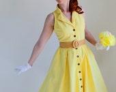 Sale - Bright Pastel Yellow Dress. Mad Men Fashion. Weddings. Lemon. Day Dress. Summer Fashion. Fall Fashion. Back To School. Size Small