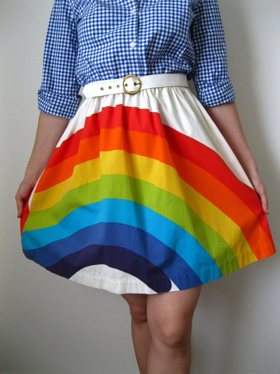 25% Off Sale--Vintage 1960s Rainbow Connection Skirt