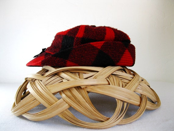1950s Wool Buffalo Plaid Woodsman Hat Red and Black Woodland Rustic
