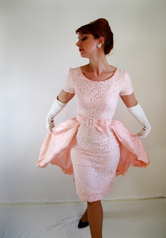 Dress pink lace wedding dress dress set mad for 1950s style wedding dresses for sale