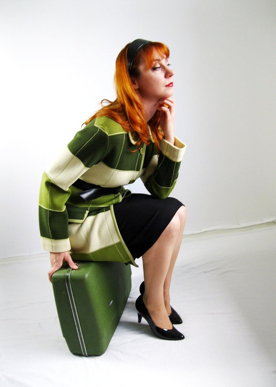 1960s Green Holiday Wool Jacket Mad Men Fashion Outerwear Fall Fashion Olive Green