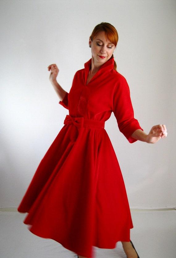 Sale Red Velvet Party Dress Handmade Ooak Mad Men By