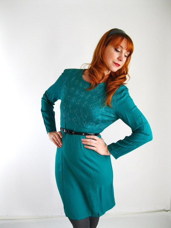 teal knit retro long sleeved dress