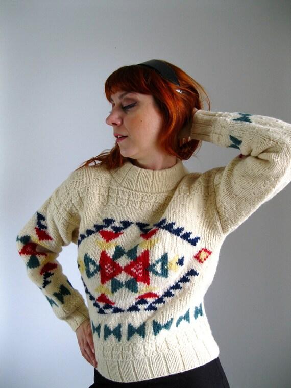 Clearance Sale  - Vintage  Tribal Southwest Print Sweater. Chunky Knit Wool. Lodge Sweater. Fall Fashion. Winter Fashion