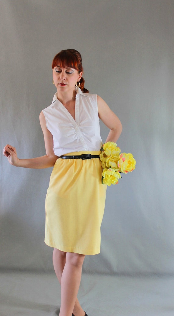 sale bright yellow pencil skirt office fashion by