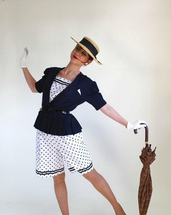 Sale - Navy With Polka Dots Dress Set. Day Dress. Nautical. Vacation. Resort. Fall Fashion. Spring Fashion. Size Medium