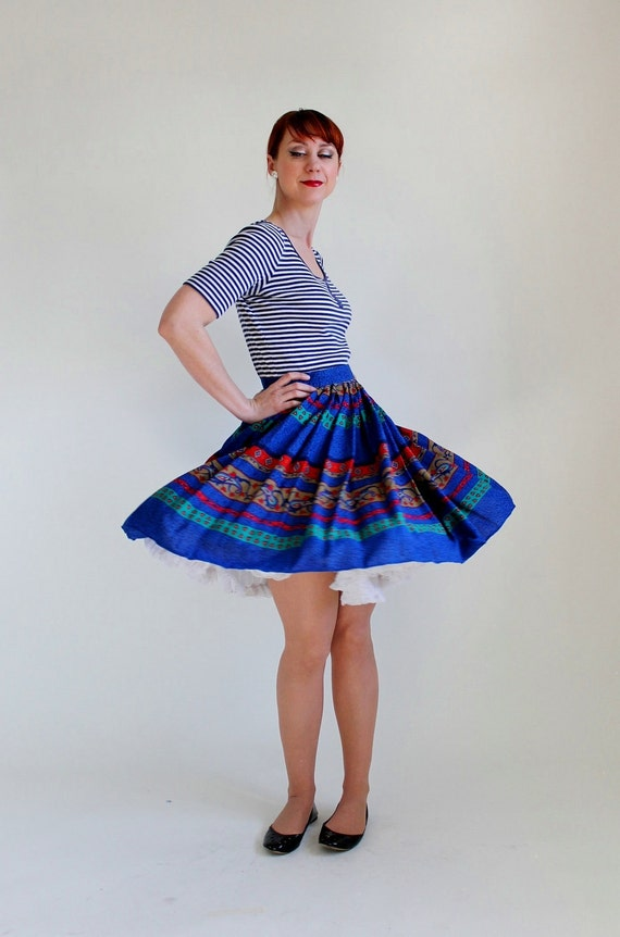 Royal Blue And Red Paisley Boho Skirt. Size Medium