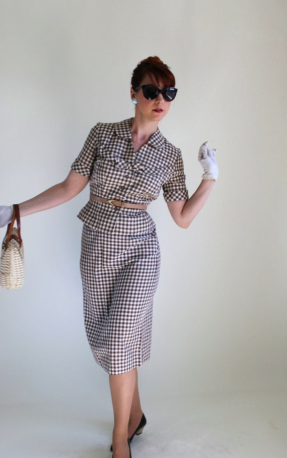 1950s Suit Dress Set. Brown Gingham. Mad Men Fashion. Weddings. Office Fashion. Summer Cotton Dress Set. Size Small