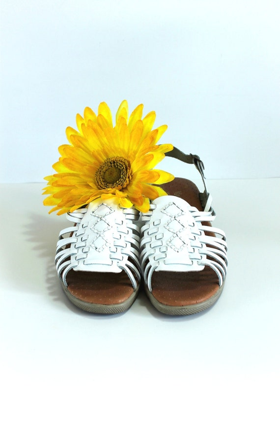 CLEARANCE--White Sandals Wedges. Hurraches.  Wedding Shoes. Summer Fashion. US Size 7 1/2