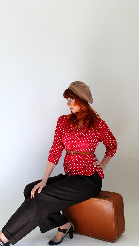 Sale -  1970s Red White Polka Dot Blouse. Shirt. Office Fashion. Mad Men Fashion. Spring Fashion. Fall Fashion. Size Large
