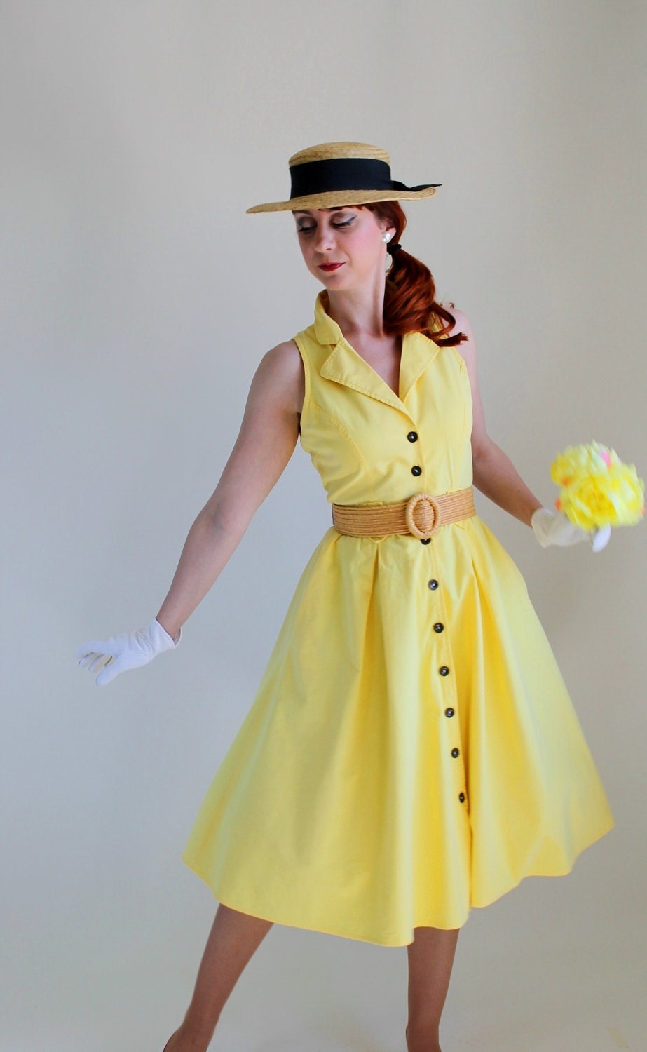 Sale bright pastel yellow dress mad men fashion weddings for Yellow wedding dresses for sale