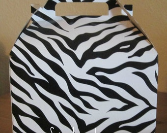 Zebra Print Favor Boxes, Set of 15