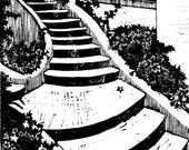 Stairway in the Garden woodcut