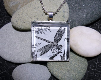 Dragonfly pendant necklace - block print design