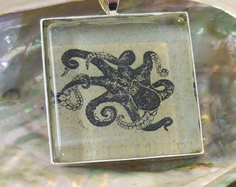 Octopus pendant necklace based on original woodcut