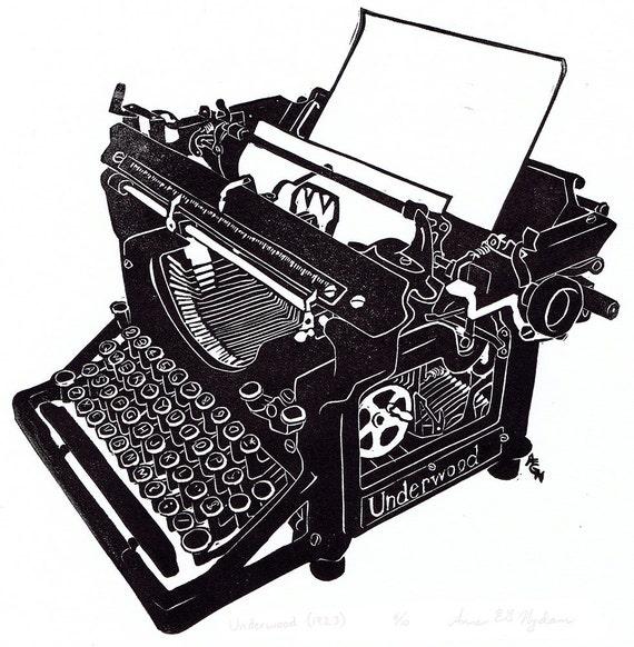 Underwood Typewriter block print